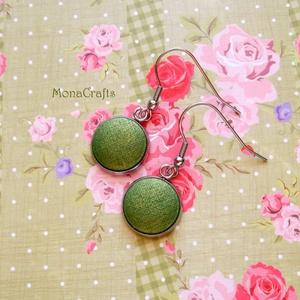 Estella - kézzel festett textilgomb fülbevaló acélból (MonaCrafts) - Meska.hu