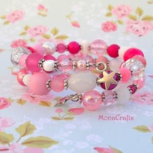 Candy Star - édes rózsaszín karkötő válogatott gyöngyökből (MonaCrafts) - Meska.hu