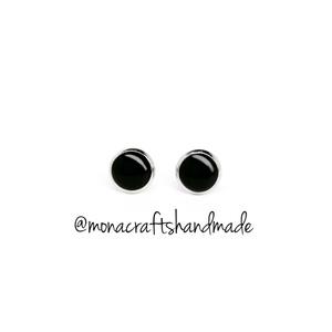 Blacky - fekete fülbevaló acél alappal  (XS méret), Ékszer, Fülbevaló, Pötty fülbevaló, Ékszerkészítés, Mindenmás, Meska