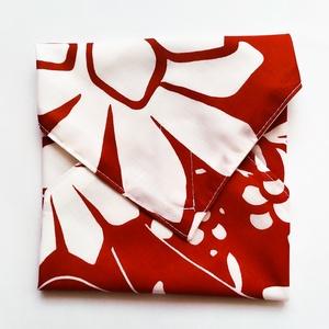 Újraszalvéta, szendvics csomagoló, piros alapon fehér virágok, Ovi- és sulikezdés, Uzsonna- & Ebéd tartó, Szendvics csomagoló, Varrás, Meska