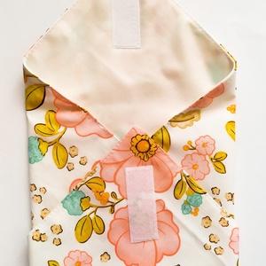 Újraszalvéta, szendvics csomagoló, rózsaszín virágos - ovi- és sulikezdés - uzsonna- & ebéd tartó - szendvics csomagoló - Meska.hu