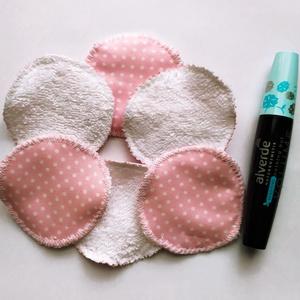 Mosható kozmetikai korong szett, rózsaszín alapon fehér pöttyös - szépségápolás - arcápolás - arctisztító korong - Meska.hu