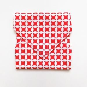 Újraszalvéta, szendvics csomagoló, piros geometrikus, Ovi- és sulikezdés, Uzsonna- & Ebéd tartó, Szendvics csomagoló, Varrás, Meska