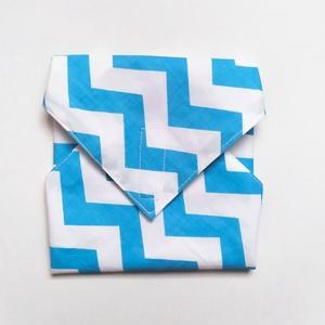 Újraszalvéta, szendvics csomagoló, kék cikkcakk mintás - ovi- és sulikezdés - uzsonna- & ebéd tartó - szendvics csomagoló - Meska.hu