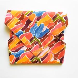 Újraszalvéta, szendvics csomagoló, textil szalvéta, színes tulipános, Ovi- és sulikezdés, Uzsonna- & Ebéd tartó, Szendvics csomagoló, Varrás, Meska