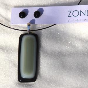 ZONDA - TRIÁL üvegékszer nyaklánc és fülbevaló, Ékszerszett, Ékszer, Ékszerkészítés, Fényes fekete üvegbe olvasztottam fehér üveget, majd arra tettem a matt szürkés-zöld belső üveget - ..., Meska