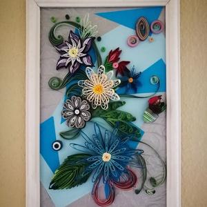 Szines virágok quilling kép, Dekoráció, Otthon & lakás, Dísz, Lakberendezés, Falikép, Papírművészet, Quilling technikával készült (5mm-es papírcsíkok felhasználásával),  színes virág kompozíciót ábrázo..., Meska