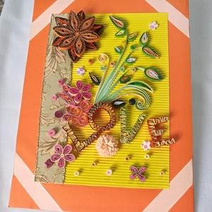 Valentin napi love feliratos kép, Dekoráció, Otthon & lakás, Kép, Lakberendezés, Szerelmeseknek, Ünnepi dekoráció, Papírművészet, Narancssárga szegéllyel, sárga hátterű love feliratos, virágokkal diszített kép. Kartonra ragasztott..., Meska