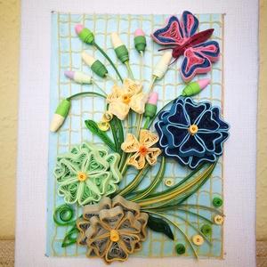 Virágos kép pillangóval, Kép & Falikép, Dekoráció, Otthon & Lakás, Papírművészet, 15*20 cm-es 5mm-es papírcsíkokból, quilling technikával készült kép, keret nélkül. Kiváló ajándék le..., Meska