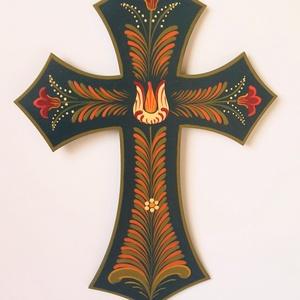 Festett kereszt, Otthon & Lakás, Spiritualitás & Vallás, Kereszt, Festett tárgyak, Falemezből készült festett kereszt, akasztható, hartai mintával.\nMérete:22*16 cm., Meska