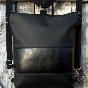 CITY BAG HÁTIZSÁK/OLDALTÁSKA : Fekete feketével, Táska & Tok, Hátizsák, Hátizsák, Sokak kérésére mostantól végre készülnek olyan táskák is, amik oldaltáskák és hátizsákok is lehetnek..., Meska