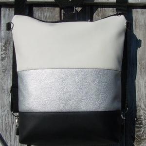 CITY BAG HÁTIZSÁK/OLDALTÁSKA : Egy kis luxus ezüsttel és fehérrel, Táska & Tok, Hátizsák, Hátizsák, Sokak kérésére mostantól végre készülnek olyan táskák is, amik oldaltáskák és hátizsákok is lehetnek..., Meska