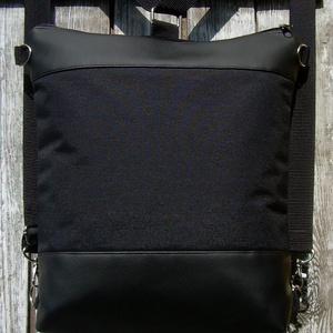 CITY BAG HÁTIZSÁK/OLDALTÁSKA : Fekete bőr cordurával, Táska & Tok, Variálható táska, Sokak kérésére mostantól végre készülnek olyan táskák is, amik oldaltáskák és hátizsákok is lehetnek..., Meska