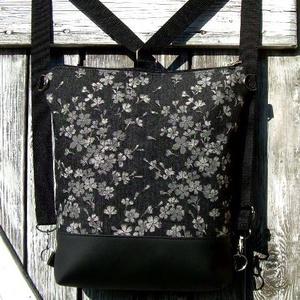 CITY BAG HÁTIZSÁK/OLDALTÁSKA : Fekete bőr virágos farmerral, Táska & Tok, Hátizsák, Hátizsák, Sokak kérésére mostantól végre készülnek olyan táskák is, amik oldaltáskák és hátizsákok is lehetnek..., Meska