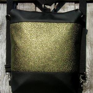 CITY BAG HÁTIZSÁK/OLDALTÁSKA :Fekete és metál zöld, Táska & Tok, Hátizsák, Hátizsák,   Sokak kérésére mostantól végre készülnek olyan táskák is, amik válltáskák, oldaltáskák és hátizsák..., Meska