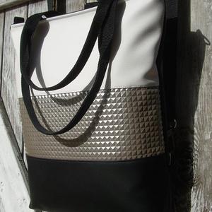 CITY BAG HÁTIZSÁK/OLDALTÁSKA/VÁLLTÁSKA : Egy kis luxus  ezüsttel és fehérrel - táska & tok - hátizsák - hátizsák - Meska.hu