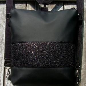 CITY BAG HÁTIZSÁK/OLDALTÁSKA : Fekete feketével 3., Táska & Tok, Hátizsák, Hátizsák,   Sokak kérésére mostantól végre készülnek olyan táskák is, amik oldaltáskák és hátizsákok is lehetn..., Meska