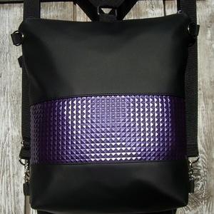 CITY BAG HÁTIZSÁK/OLDALTÁSKA : Fekete metálos lilával, Táska & Tok, Hátizsák, Hátizsák,   Sokak kérésére mostantól végre készülnek olyan táskák is, amik válltáskák, oldaltáskák és hátizsák..., Meska