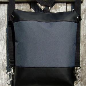 CITY BAG HÁTIZSÁK/OLDALTÁSKA : Fekete bőr szürke cordurával, Táska, Táska, Divat & Szépség, Egyéb, Hátizsák, Válltáska, oldaltáska, Varrás, Bőrművesség, Sokak kérésére mostantól végre készülnek olyan táskák is, amik oldaltáskák és hátizsákok is lehetnek..., Meska