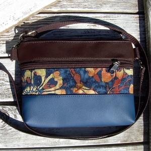 MINI CITY BAG/ÖVTÁSKA : Variációk batikra barna és kék bőrrel 1., Táska & Tok, Övtáska,   Közkívánatra újra készülnek olyan kis táskáim, amiket övtáskának is hordhatunk, sőt neszinek is me..., Meska