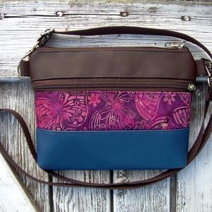 MINI CITY BAG : Variációk batikra barnával és kékkel 3., Táska & Tok, Vállon átvethető táska, Kézitáska & válltáska, Varrás, Meska