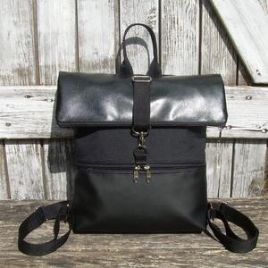 ROLL TOP CITY BAG : Fekete bőr cordurával, Táska, Divat & Szépség, Táska, Egyéb, Hátizsák, Szépség(ápolás), Maszk, szájmaszk, Varrás, Bőrművesség, \n\nÍme a legújabb fazon, roll top azaz kitekerhető tetejű hátizsák! :)\nA táska letekerhető/lehajtható..., Meska