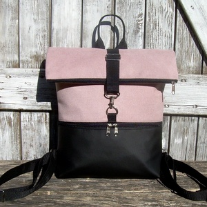 ROLL TOP CITY BAG : Variációk feketére rózsaszínnel, Táska & Tok, Hátizsák, Roll top hátizsák, Varrás, Bőrművesség, \n\nÍme a legújabb fazon, roll top azaz kitekerhető tetejű hátizsák! :)\nA táska letekerhető/lehajtható..., Meska