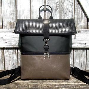 ROLL TOP CITY BAG : Metálos elegancia 1., Táska & Tok, Hátizsák, Roll top hátizsák, Varrás, Bőrművesség, \n\n\nÍme a legújabb fazon, roll top azaz kitekerhető tetejű hátizsák! :)\nA táska letekerhető/lehajthat..., Meska