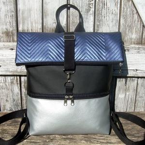 ROLL TOP CITY BAG : Metálos elegancia kékkel és ezüsttel, Táska & Tok, Hátizsák, Roll top hátizsák, Varrás, Bőrművesség, \n\nÍme a legújabb fazon, roll top azaz kitekerhető tetejű hátizsák! :)\nA táska letekerhető/lehajtható..., Meska