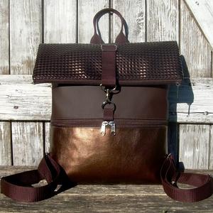 ROLL TOP CITY BAG : Bronzos elegancia 2., Táska & Tok, Hátizsák, Roll top hátizsák,   Íme a legújabb fazon, roll top azaz kitekerhető tetejű hátizsák! :) A táska letekerhető/lehajtható..., Meska