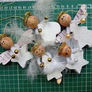 Karácsonyfadísz angyalok termésekből, Karácsonyfadísz, Karácsony & Mikulás, Otthon & Lakás, Virágkötés, Angyalkák termésekből, öt darabos készletben, A csomagok tartalma eltérő lehet a képen látottaktól, ..., Meska