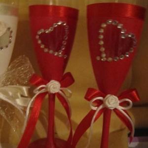 Piros és fehér, Dekoráció, Otthon & lakás, Ünnepi dekoráció, Esküvő, Esküvői dekoráció, Mindenmás, Fehér és piros esküvői pohárszett\n\nA Fény, a tisztaság, a differenciálatlanság, a transzcendencia, a..., Meska