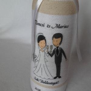 Esküvői ajándék üveg, Egyéb, Esküvő, Nászajándék, Esküvői dekoráció, Mindenmás, Szeretnéd meglepni az ifjú párt egy egyedi készítésű ajándéküveggel? \nAkkor jó helyen jársz. Az üveg..., Meska