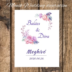 Pasztell lila virágos hajtott meghívó , Esküvő, Meghívó, ültetőkártya, köszönőajándék, Mindenmás, Meghívó tulajdonságai:\nMéret: A6 méret (összehajtott állapotban, kihajtva 22X15 cm)\nPAPÍR: Akvarell ..., Meska