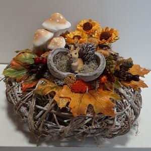 Őszi hangulatú asztaldísz, Otthon & Lakás, Dekoráció, Asztaldísz, Virágkötés, Meska