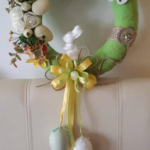 Húsvéti ajtódísz fehér nyuszival, Otthon & lakás, Dekoráció, Dísz, Ünnepi dekoráció, Húsvéti díszek, Lakberendezés, Ajtódísz, kopogtató, Mindenmás, Virágkötés, Egyedi kézzel készített ajtódísz. Minőségi selyemvirágok, műanyagtojás, hcell. nyuszi felhasználásáv..., Meska