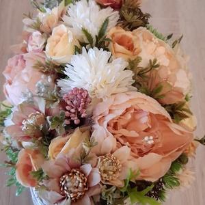 Talpas íves alakú háncs kaspóban virágcsokor - otthon & lakás - dekoráció - asztaldísz - Meska.hu