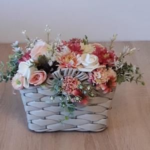 Fonott táska kaspó virággal, Otthon & Lakás, Dekoráció, Asztaldísz, Mindenmás, Meska