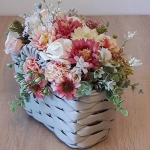 Fonott táska kaspó virággal - otthon & lakás - dekoráció - asztaldísz - Meska.hu