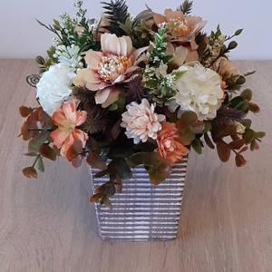 Virágcsokor kaspóban, Otthon & Lakás, Dekoráció, Asztaldísz, Mindenmás, Meska