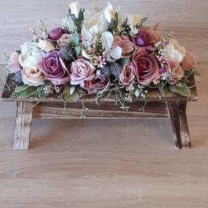 Selyemvirágcsokor asztal formájú fa kaspóban, Otthon & Lakás, Dekoráció, Asztaldísz, Mindenmás, Meska