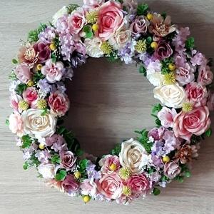 Nagy méretű Tavaszi-Nyári selyemvirág ajtódísz (kopogtató), Otthon & Lakás, Dekoráció, Ajtódísz & Kopogtató, Mindenmás, Meska