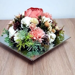 Virágcsokor króm tálban, Otthon & Lakás, Dekoráció, Asztaldísz, Mindenmás, Meska