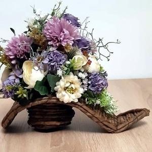 Virágcsokor háncs kaspóban, Otthon & Lakás, Dekoráció, Dísztárgy, Mindenmás, Meska