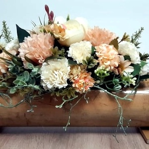 Virágcsokor bambusz kaspóban, Otthon & Lakás, Dekoráció, Asztaldísz, Mindenmás, Meska