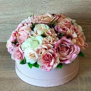 Selyemvirágcsokor box, Otthon & Lakás, Dekoráció, Asztaldísz, Mindenmás, Meska