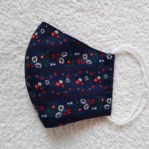 Textil maszk, arcmaszk, szájmaszk, NoWaste, Textilek, Kendő, Varrás, Kék alapon piros-fehér apró mintás pamutvászonból készült kétrétegű maszk.\nBelső része kék pamutvász..., Meska