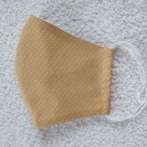 Textil maszk, arcmaszk, szájmaszk, NoWaste, Textilek, Kendő, Varrás, Beige alapon apró fehér pöttyös pamutvászonból készült kétrétegű maszk.\nBelső része fehér pamutvászo..., Meska