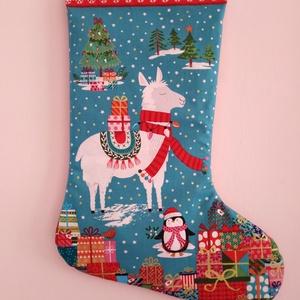 Mikulás csizma,ajándék zsák, Karácsony & Mikulás, Mikulás, Egyedi készítésű színes, meseszép képet ábrázoló mikulás csizma,melybe ajándékok rejthetőek. Az elej..., Meska