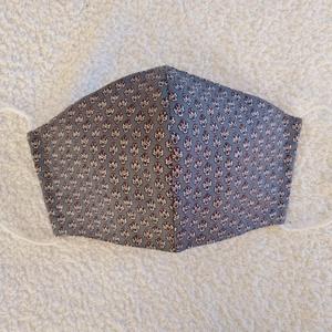 Textil maszk, arcmaszk, szájmaszk, NoWaste, Textilek, Kendő, Varrás, Szürkéskék alapon apró mintás pamutvászonból készült kétrétegű maszk.\nBelső része kék pamutvászon an..., Meska